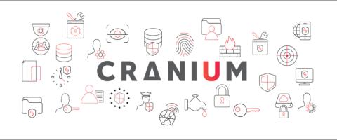Cranium logo and cranium icons in red and grey